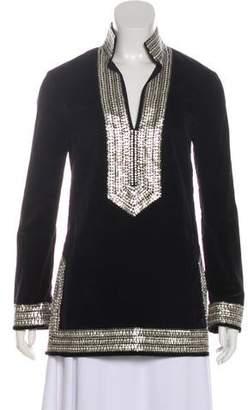 Tory Burch Embellished Long Sleeve Tunic