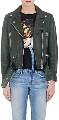"Acne Studios Women's ""Mock"" Leather Moto Jacket - Olive"