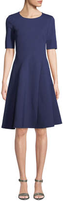 Lafayette 148 New York Pleated Short-Sleeve Fit-and-Flare Dress