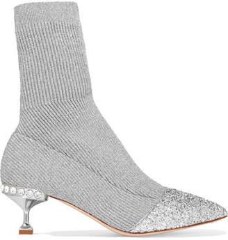 Miu Miu Glittered Metallic Ribbed-knit Sock Boots - Silver