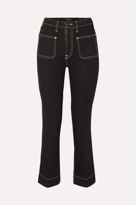 KHAITE Raquel Cropped High-rise Flared Jeans - Black
