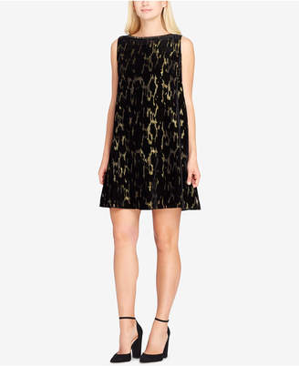 Tahari ASL Burnout Velvet & Metallic Shift Dress