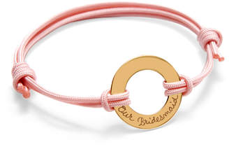 Rolex Merci Maman Yellow Gold Plated Our Bridesmaid Ring Bracelet On Pale Pink Cord