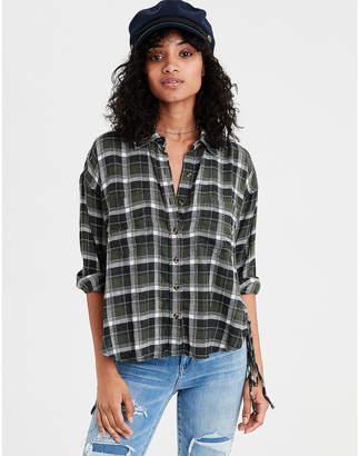 American Eagle AE Ahh-mazingly Soft Plaid Lace Up Shirt