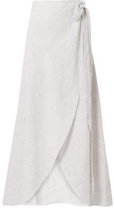 Miguelina Ballerina Crochet-trimmed Striped Linen Wrap Maxi Skirt