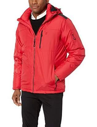 Izod Men's Water Resistant Hooded Puffer Bomber Jacket