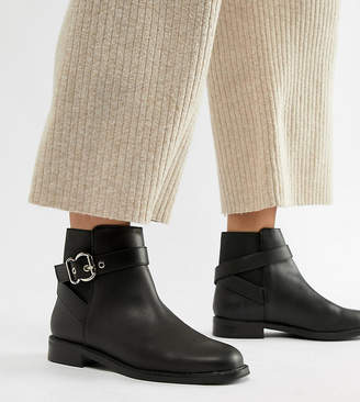 Asos Design DESIGN Wide Fit Abena Buckle Ankle Boots
