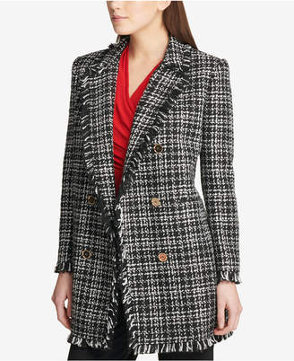 DKNY Plaid Fringe-Trim Topper Jacket