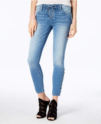 GUESS Lace-Up Ankle Skinny Jeans