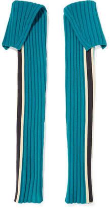 Calvin Klein Striped Wool-blend Sleeves - Blue