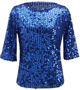 9834d0d6cfe7a Qiji Women s Sparkle Glitter Tank Party Sequin Blouse Night Out Tops