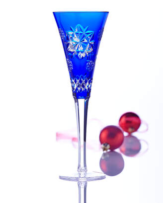 Waterford Crystal Snowflake Wishes Friendship Champagne Flute, Cobalt
