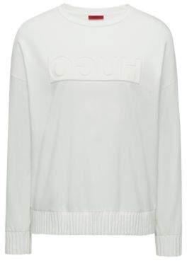 HUGO Boss Relaxed-fit sweater embossed reversed logo S Natural