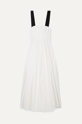 Lee Mathews - Eleanor Grosgrain-trimmed Cotton-blend Poplin Maxi Dress - Ivory