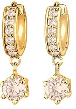 Goldhimmel Women 925 Sterling Silver Gold Plated Hoop Zirconia Earrings 0311540513