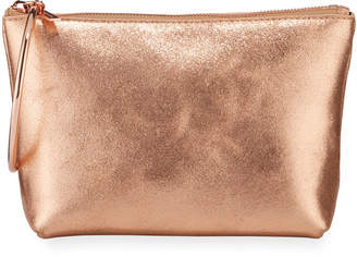 THACKER Ring-Handle Metallic Leather Clutch Bag