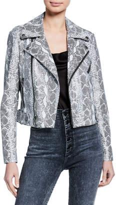 Alice + Olivia Cody Cropped Leather Moto Jacket
