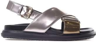 Marni Bi-color Metallic-leather Fussbett Sandals