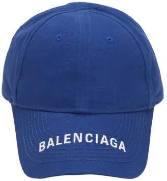Balenciaga Logo Embroidered Cotton Baseball Hat