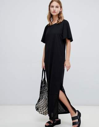 Ichi Flutter Sleeve Maxi Dress