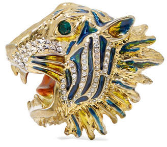 Gucci Gold-plated, Crystal And Enamel Brooch