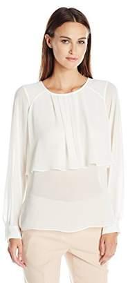 BCBGMAXAZRIA Women's Long Sleeve Blouse with Overlay