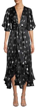 Diane von Furstenberg Sareth Metallic Dot-Print Ruffle Midi Dress