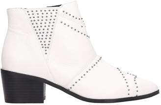 Bibi Lou White Leather Ankle Boots