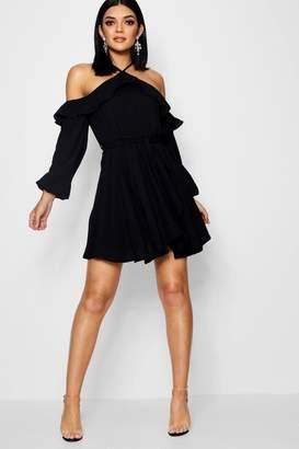 boohoo Wrap Front Ruffle Shoulder Skater Dress