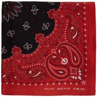 Amiri Red and Black Silk Bandana Scarf