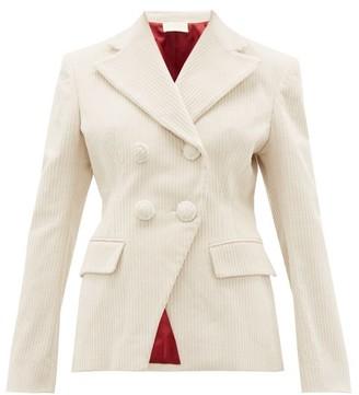 Sara Battaglia Double Breasted Cotton Blend Jumbo Corduroy Jacket - Womens - Cream