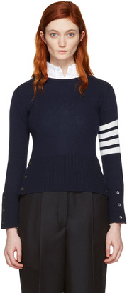 Thom Browne Navy Classic Crewneck Short Pullover $1,390 thestylecure.com