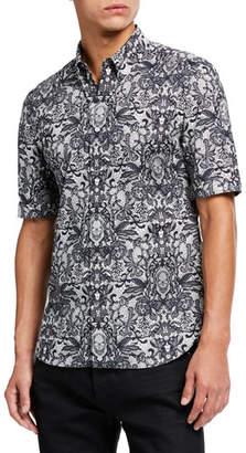 Alexander McQueen Men's Lace & Signature Skull Short-Sleeve Sport Shirt