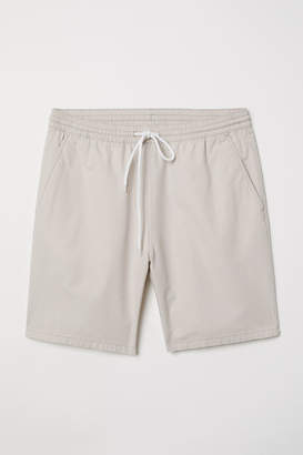 H&M Textured-weave Cotton Shorts - Brown