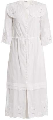 Vilshenko Auberta Floral Embroidered Cotton Dress - Womens - White