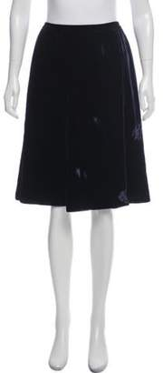 Lanvin Velvet Knee-Length Skirt blue Velvet Knee-Length Skirt
