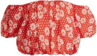Lisa Marie Fernandez Leandra floral-print cotton cropped top