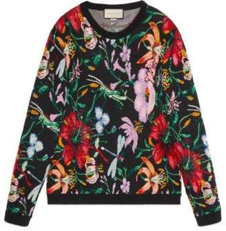 Gucci Sweater with bead embroidered floral motif