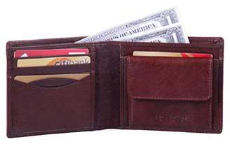 Leather Architect -Men's Real Italian Leather Bifold Wallet with Coin Pocket and RFID blocking-