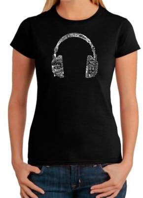 Women's Large Word Art Headphones in Languages T-Shirt in Black $19.99 thestylecure.com