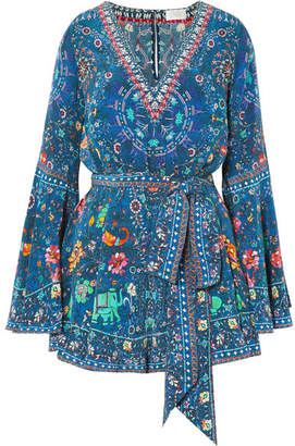 Camilla Embellished Printed Silk Crepe De Chine Playsuit - Blue