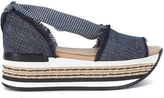 Hogan Maxi H222 Blue Canvas Sandal With Maxi Sole
