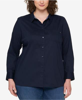Tommy Hilfiger Plus Size Heritage Cotton Utility Shirt