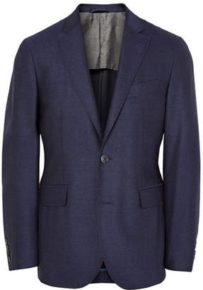 Hackett Blue London Slim-Fit Mélange Wool Blazer
