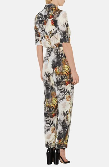 Topshop Cuffed Palm Print Jumpsuit
