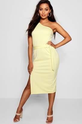 boohoo Petite O-Tring Asymmetric Extreme Slit Midi Dress