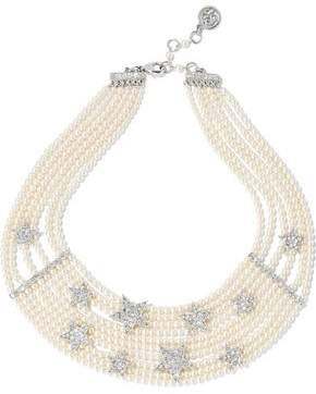 Ben-Amun Silver-Tone Faux Pearl And Crystal Necklace