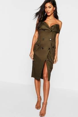 boohoo Off the Shoulder Thigh Split Tux Dress