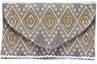 Geometric Embellished Woven Envelope Clutch Crossbody Bag