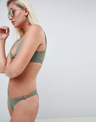 Asos DESIGN recycled knot minimal high leg hipster bikini bottom in khaki